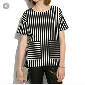 Madewell Black and White Striped Top